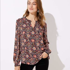 LOFT lace trim print blouse
